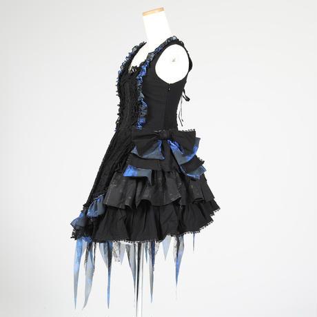 【h.NAOTO】Blue Dahlia Ribbon Dress/CNF24-O179 BK-BL/M