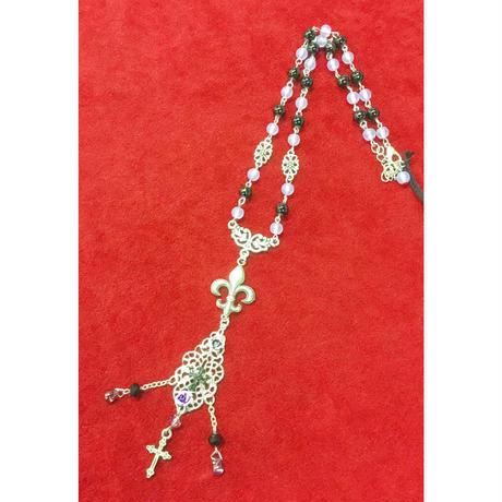 【GiNon】 ゆりの紋章×クロス薔薇のネックレス/190807