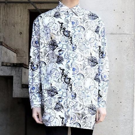 【JURY BLACK 】Watch Print Ribbon Shirt(12123261005)