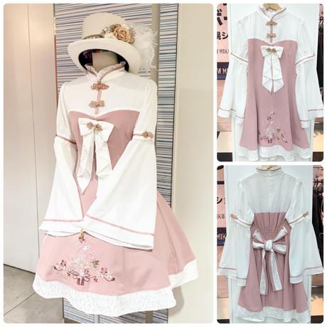 【Amavel】こぼれ桜と鶯のチャイナワンピース/ピンク
