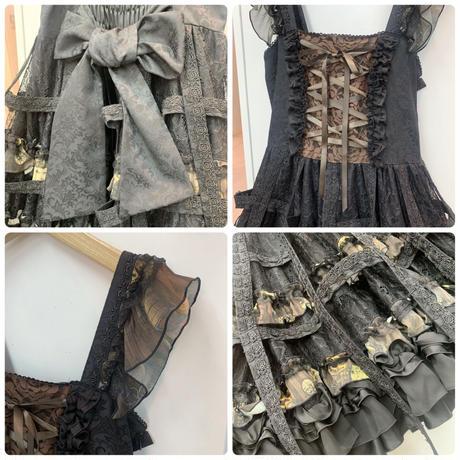 【h.NAOTO】Steampunk Bird cage dress/CNF29-O272 BK-KHA/M