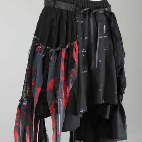 【h.NAOTO】 Blood Dahlia Lace Skirt/CNF24-S172 BK-RD/F