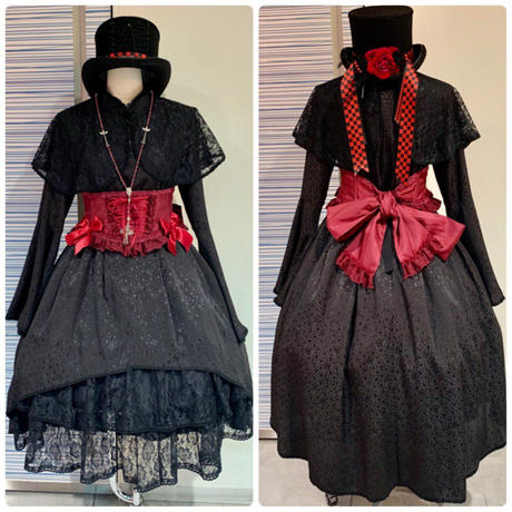 【まよなかのこいびと展】Masquerade/編み上げシルクハット/S/赤