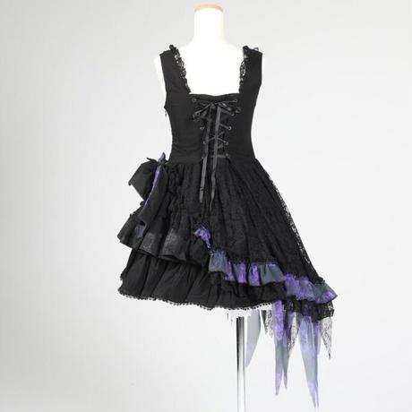 【h.NAOTO】Violet Dahlia Ribbon Dress/CNF24-O179 BK-PUR/M