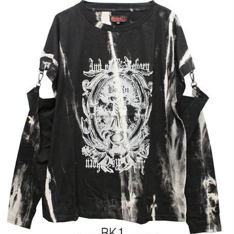 【Deorart】ムラ染め タイダイ 袖セパレート アームカバー付 Tシャツ [Gothic]【DRT2567】