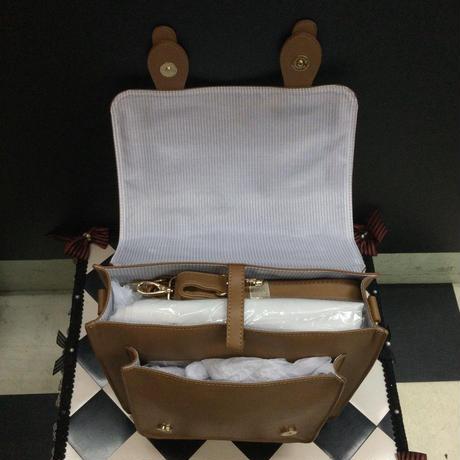 【Amavel】 Bears Bakery ミラー付サッチェルバッグ/ブラウン・キャメル