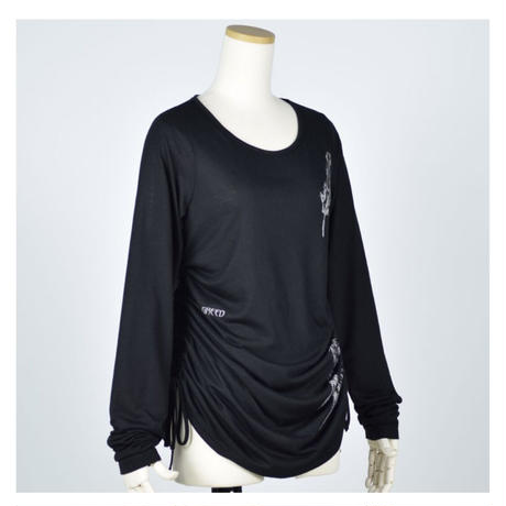 【h.NAOTO】Angel's wing Gather Long T-SH/CNF26-T085 BK/M