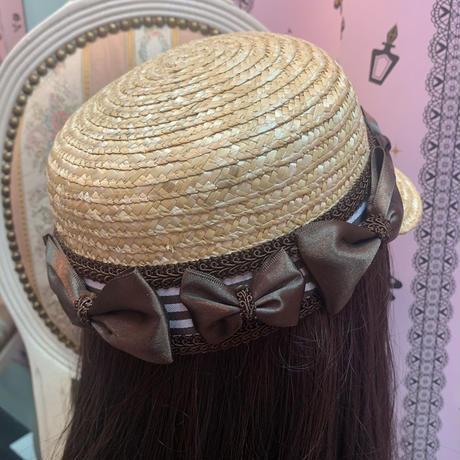 【まよなかのこいびと展】Masquerade/ブラウンストライプリボンカンカン帽/①SCH-1