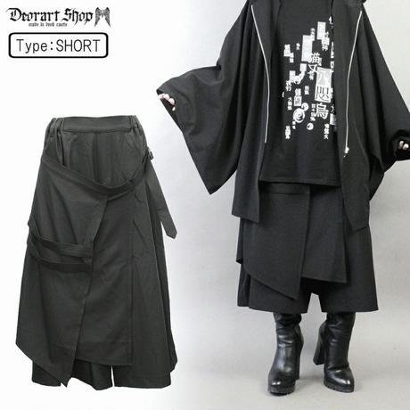 【Deorart】STファブリック地 レイヤード・フラップ付 ハカマ・袴風 ロングワイドパンツ(DRT-2500)