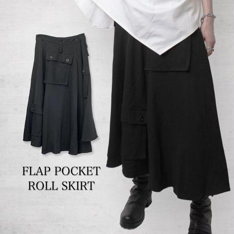 【WRouge】フラップポケット付き巻きスカート(22074425001)