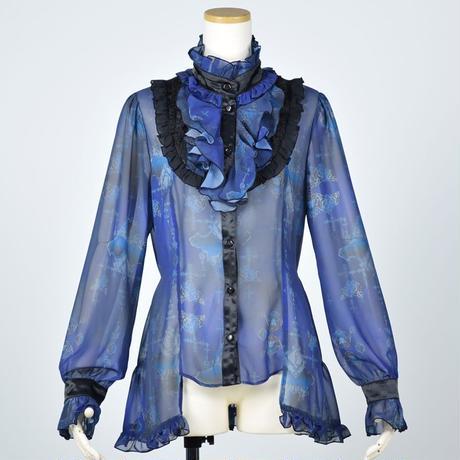 【h.NAOTO】Blue Rose Ruffle Blouse/CNF28-H189 BL/M