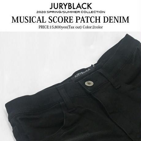 【JURY BLACK 】ミュージカルスコアパッチデニム(12061061001)