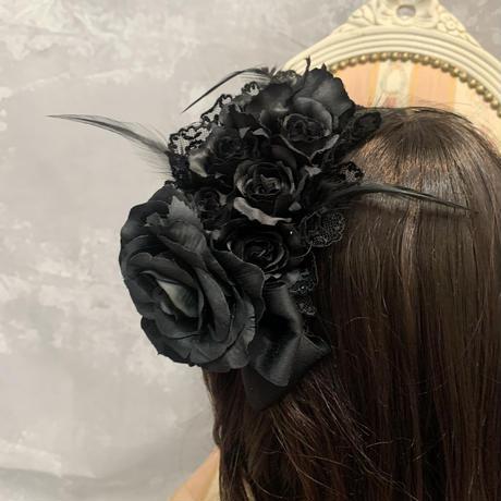 【RuhaGarden】K01-11/ローズカチューシャ/Black