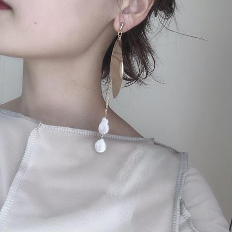handmade  gold parl earring  -616-