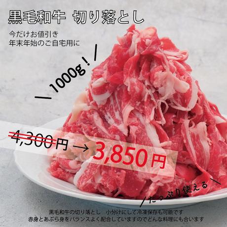 エコ包装【お買い得】黒毛和牛 切り落とし 1000g