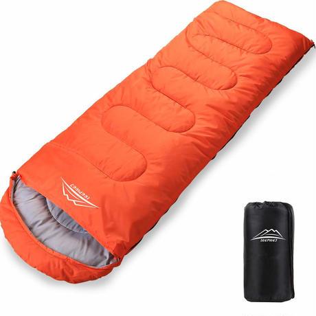 寝袋 封筒型 軽量 保温 210T防水シュラフ コンパクト アウトドア キャンプ 登山 車中泊 防災用 丸洗い可能 快適温度-5℃-25℃ 900g 1.4kg 1.8kg 春夏秋冬の使用可能