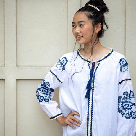 【先取りファッション】刺繍 チュニック エスニック風 花刺繍