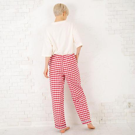 「ねこにチェック」中空糸ネル ロングパンツ PJR146-04127 ※パンツのみ