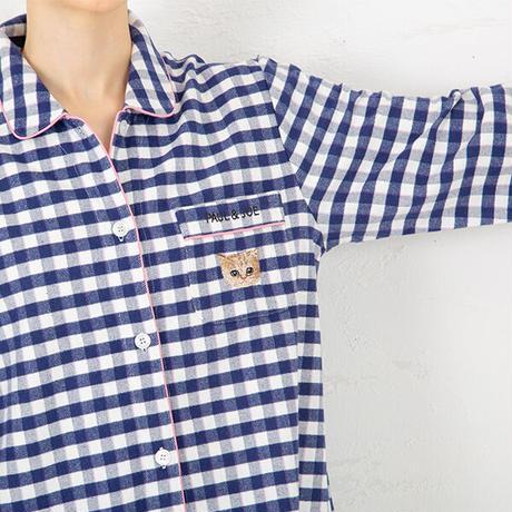 「ねこにチェック」中空糸ネル ロングスリーブシャツセットアップ PJR144-04100