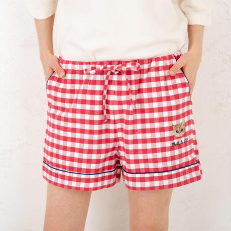 「ねこにチェック」中空糸ネル ショートパンツ PJR145-04128 ※パンツのみ
