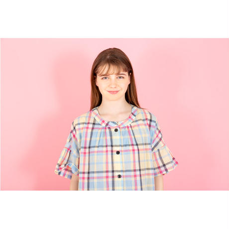 【SALE】シャーリングチェック ショートスリーブ セットアップ PJR123-02102