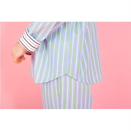 【SALE】ストライプ ロングスリーブ シャツ セットアップ  さわやかなカラーを楽しむルームウエア PJR111-01100