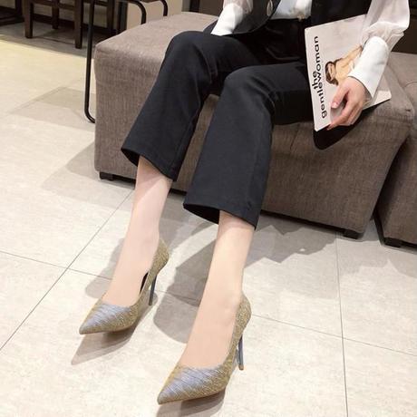 新作 光沢感 パーティー パンプス ハイヒール 通勤 歩きやすい 大きいサイズ ドレス グレー 2300