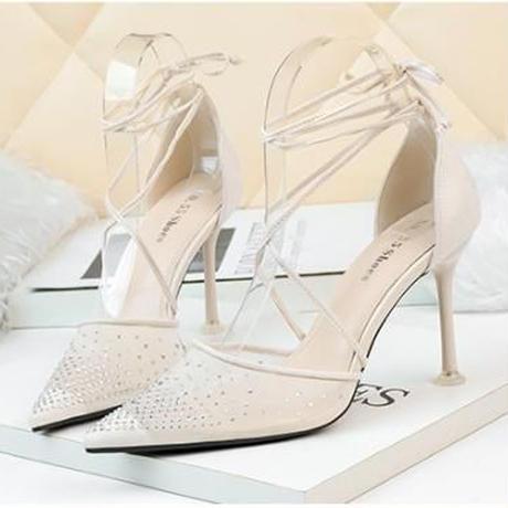 新作 ストラップ ラインストーン パーティー サンダル パンプス フォーマル 結婚式 ドレス アプリコット 2222
