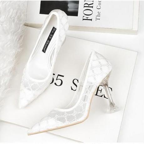 【大人気】新作 メッシュ デザイン パーティー パンプス ハイヒール フォーマル 結婚式 ドレス キャバ嬢 ホワイト 2257