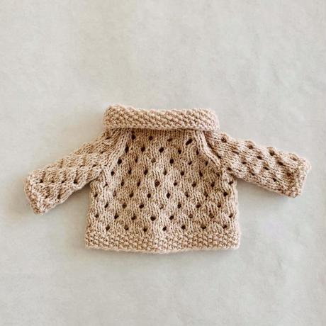 ドールニットウェア  透かし編みカーディガン ベージュ