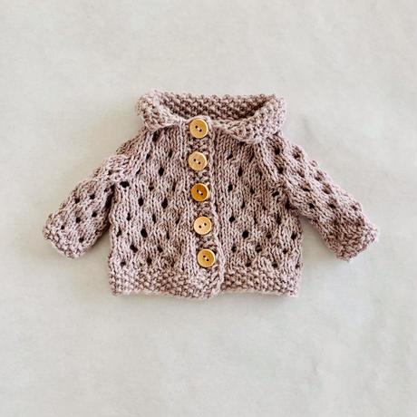 ドールニットウェア  透かし編みカーディガン くすみピンク