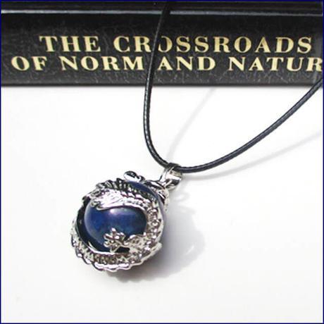 Dragon Wrap Natural Lapis Lazuli Gemstone Necklace  (U0034-e)