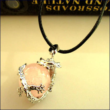 Dragon Wrap Natural Rose Quartz Gemstone Necklace  (U0006-e)