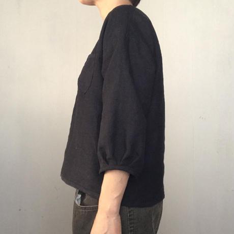 リネンのふんわり七分袖  モノトーン