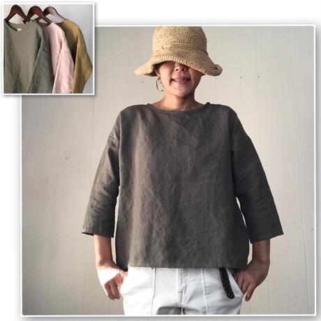 リネンのゆったりTシャツ七分袖 アースカラー