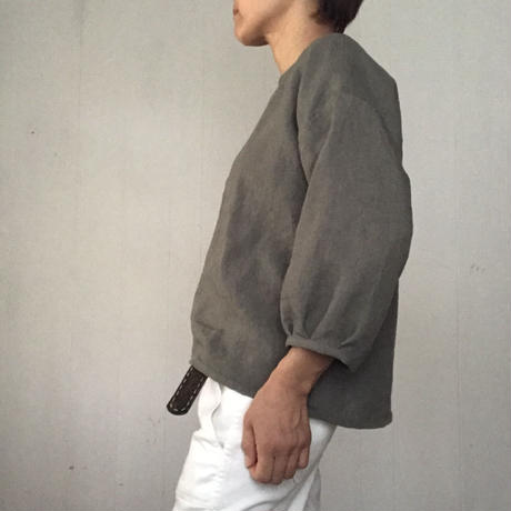 リネンのふんわり七分袖  アースカラー