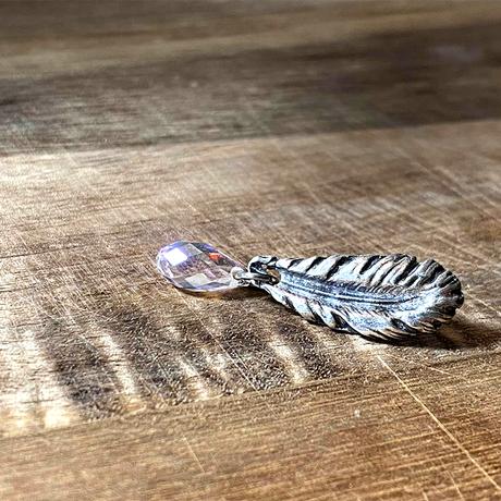 純銀製 フェザー&スワロフスキークリスタル ピンバッチ