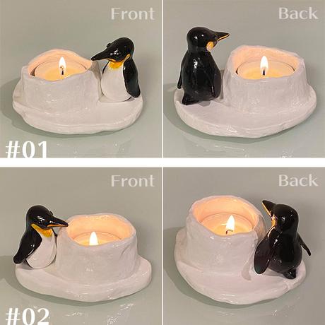 《織のペンギン》ティーライトキャンドルホルダー