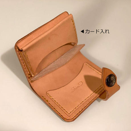 ヌメ革二つ折り財布/手縫い/一点もの