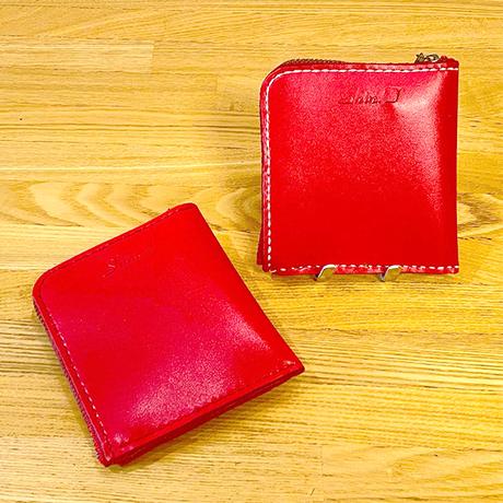色鮮やかなレッドカラーのハーフ財布/手縫い/一点もの