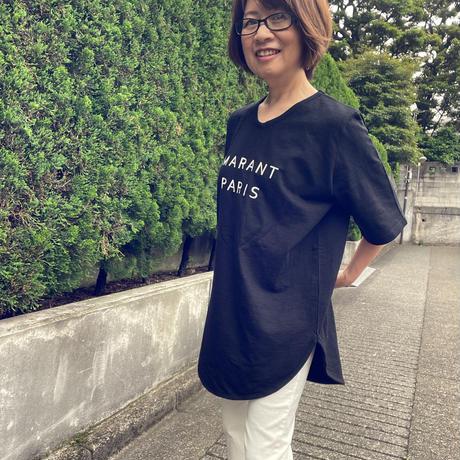浅いVネックロゴTシャツ(黒)