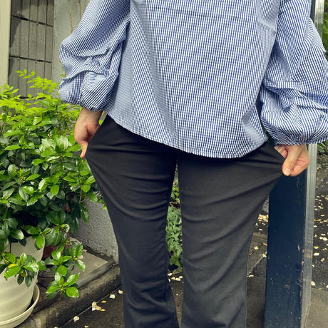 脚長ブーツカットパンツ(黒)