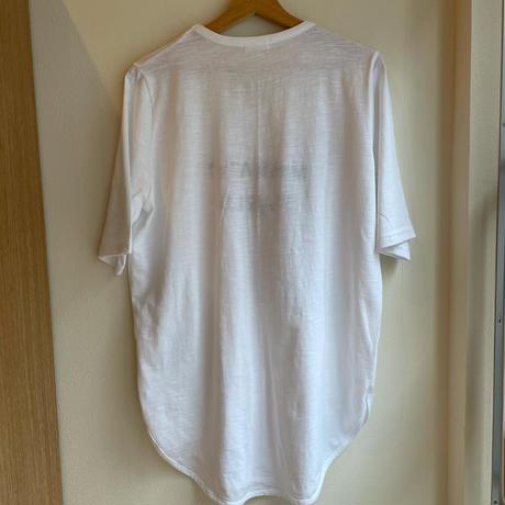 浅いVネックロゴTシャツ(白)