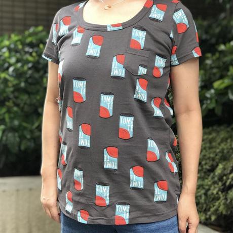 トマト缶柄Tシャツ(ダークグレー)