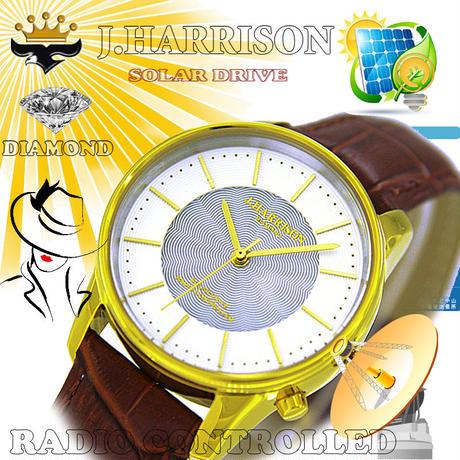 J.HARRISON カボジョン1石天然ダイヤモンド付きソーラー電波婦人用腕時計JH-1895LGW