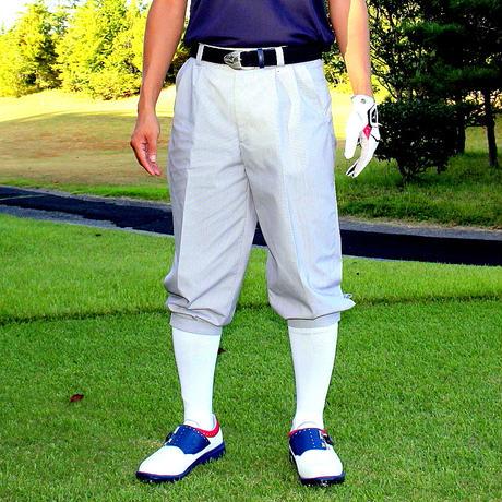 【送料無料】ゴルフウェア  ニッカボッカーズ(メンズパンツ)ストライプ(グレー)柄 【 3シーズン(春夏秋)用】