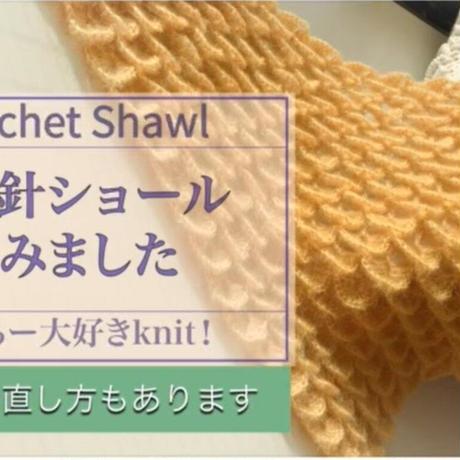 ★かぎ針編み三角ショール製作キット~Youtube動画説明あり~【ゆうパック発送】