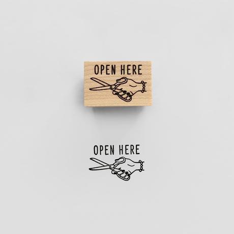 〈OPEN HERE〉スタンプ|ここを開ける
