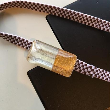 和紙と麻布の帯留め