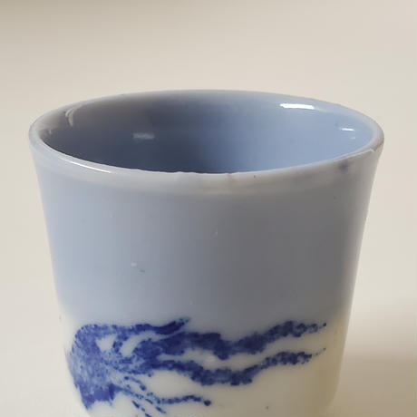【千代久】印判鳳凰桐文猪口(その2) Inban Polychrome Cup with Printed Design of Phoenix and Paulownia 19thー20th C